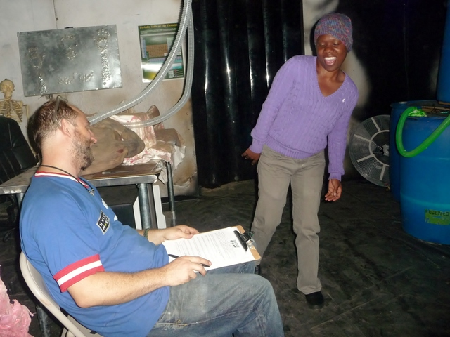 Shaynii Davidson, 32, does her best zombie impersonation for director Timothy Haskell. The Bronx Haunted Warehouse held a casting call this week, looking for actors to join its team of zombies.