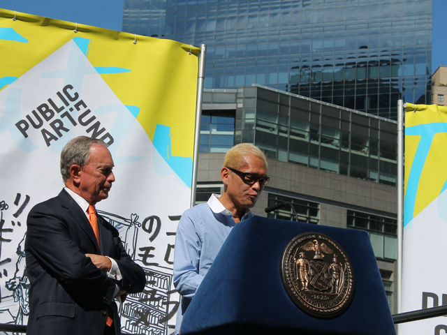 Mayor Bloomberg and Tatzu Nishi, the artist behind Discovering Columbus.