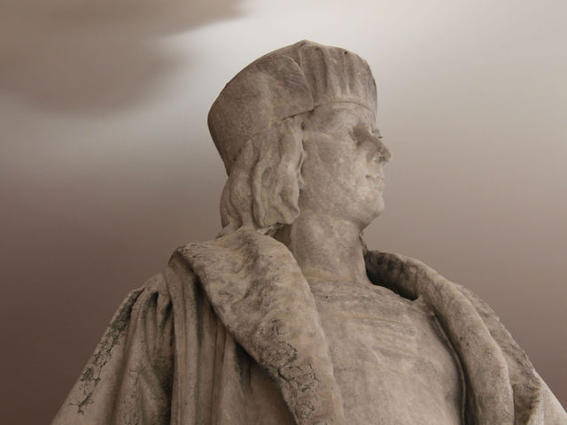 Viewers get to see Columbus up close. The statue's head is usually 73 feet above ground level.