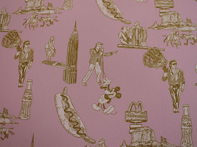 Classic American novels and books fill the bookshelves and pink wall paper made by Nishi features characters from Americana: Elvis, Mickey Mouse, Marilynne Monroe, Michael Jackson, hot dogs, Coca Cola, and cowboys, among other figures.