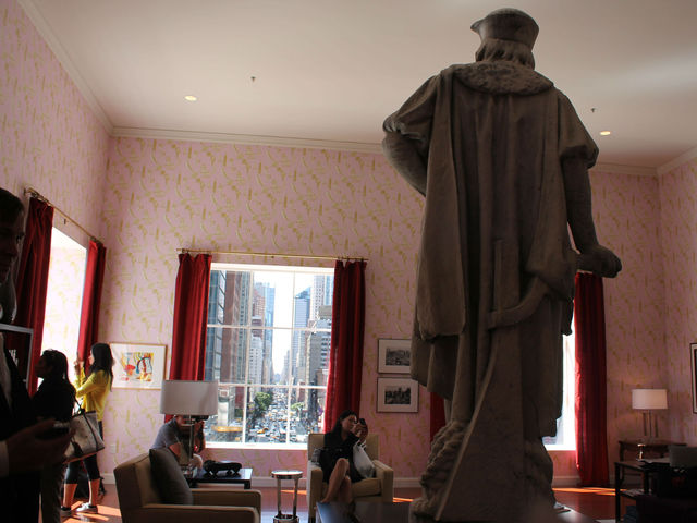 Discovering Columbus features a full living room above Columbus Circle.