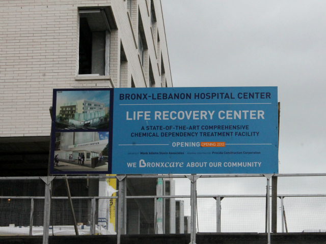 Bronx-Lebanon Hospital is building a new substance abuse treatment facility, called the Life Recovery Center, at the corner of E. 169th St. and Fulton Ave.