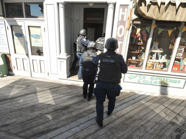 An NYPD Emergency Service Unit entry team holds a training on the set of Boardwalk Empire, Sept. 19, 2012.