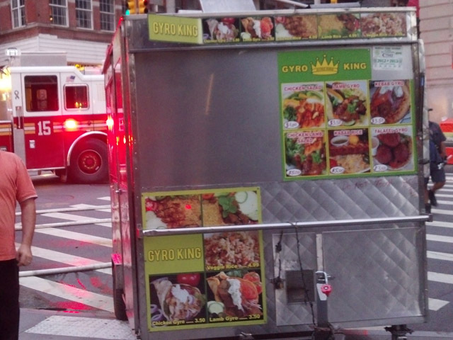 They gyro cart was not damaged during the blaze, Sept. 19, 2012.