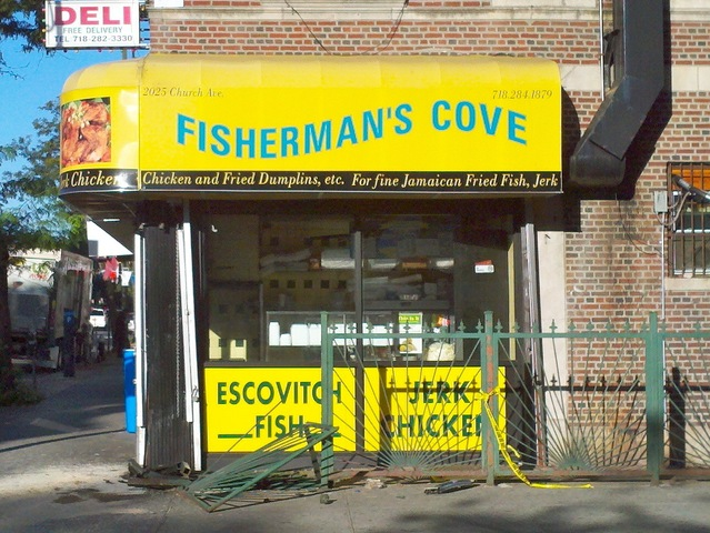 A school bus crashed into Fishman's Cove in Flatbush on Sept. 20, 2012.