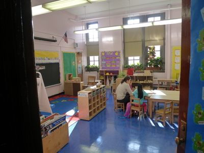"A classroom at P.S. 124 in Park Slope, where grungy bathrooms were selected for a $150,000 renovation during ""participatory budgeting,"" a process that allows locals to select projects for government funding."