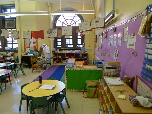A cheery classroom at P.S. 124 contrasts starkly with the grungy bathrooms that kindergarteners and first graders are forced to use.