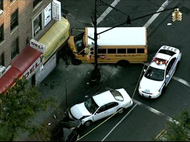 A school bus crashed into a store in Flatbush on Sept. 20, 2012.