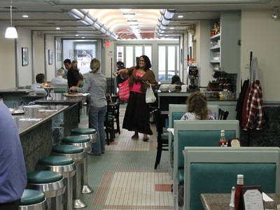 Customers at the Moonrock Diner.