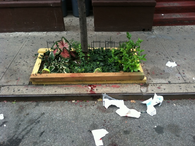 Blood spattered West 56th Street after a 19-year-old man was stabbed there.