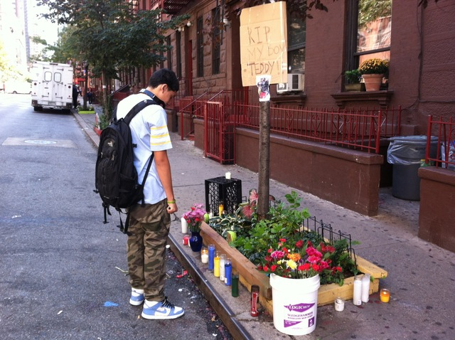 A makeshift memorial was set up for Theodore Beckles, who was stabbed to death near his Hell's Kitchen high school on Sept. 20, 2012.