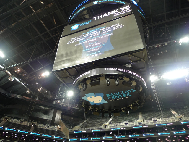 <p>The Jumbotron at the Barclays Center.</p>