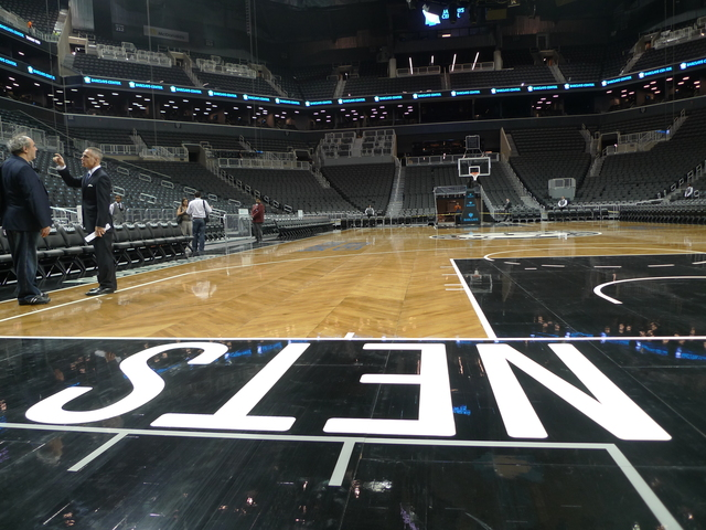 <p>Courtside at the new Barclays Center.</p>
