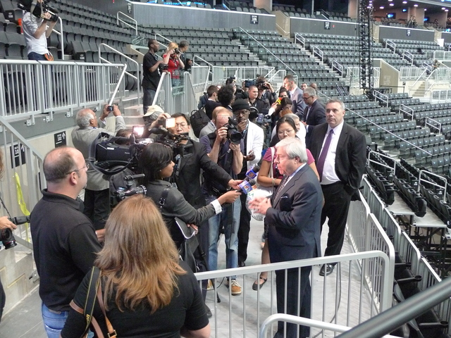 <p>Brooklyn Borough President Marty Markowitz talks to reporter inside the new Barclays Center.</p>