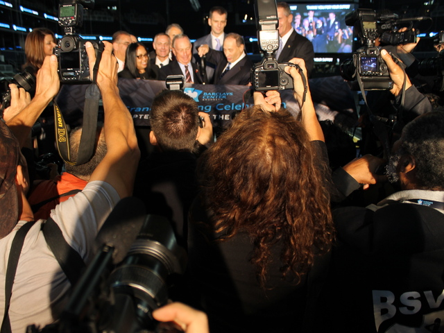 <p>Bruce Ratner and Mayor Michael Bloomberg cut the ribbon at Barclays Center.</p>