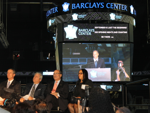 <p>Bruce Ratner on the jumbotron at the Barclays Center ribbon cutting.</p>