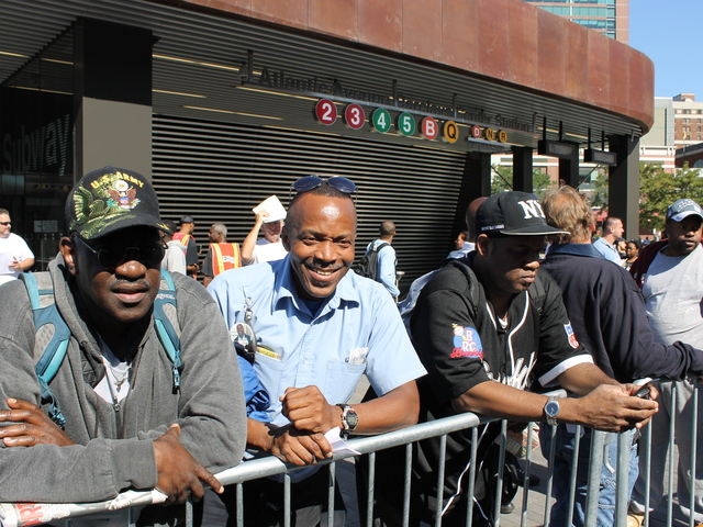 <p>Vincent Miles, center, said he&#39;s excited about the opening of the Barclays Center.</p>
