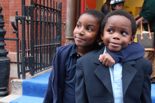 Two students outside Teachers College Community School at 126th Street and Morningside Avenue.
