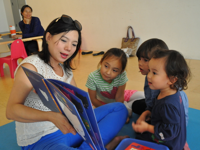 Micky Wu teaches two sessions of Baby Mandarin on Thursday afternoons for kids as young as 18 months old.