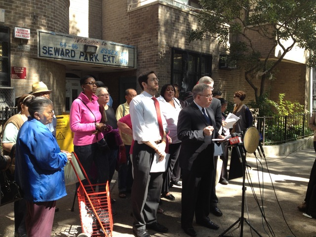 Manhattan Borough President Scott Stringer spoke at a press conference on the safety of residents living in public housing on the Lower East Side Sept. 21, 2012.