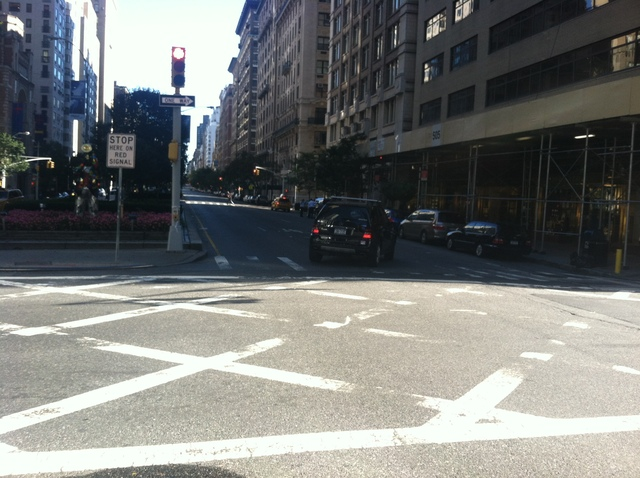 The intersection of Park Avenue and East 59th Street, where 80-year-old Rubin Baum was struck and killed by a car Sept. 22, 2012.