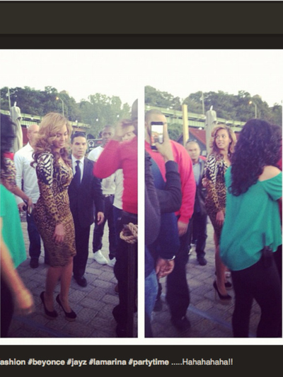 Beyonce wore a leopard print wrap dress to La Marina on Sept. 23, 2012.
