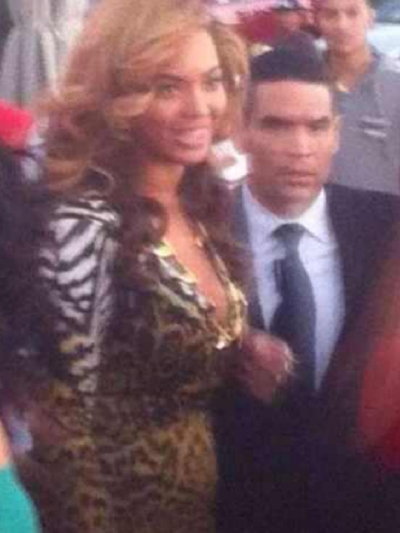 Sources said Beyonce wore a Roberto Cavalli dress during her visit to La Marina in Inwood on Sept. 23, 2012.