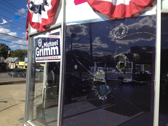 Damage after Rep. Michael Grimm's campaign headquarters was allegedly vandalized Saturday night.