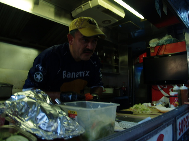 Galdino Molinero mans the Tortas Nezas truck at the Viva La Comida! festival.
