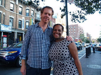 <p>Seth Taylor poses with Councilwoman Julissa Ferreras at the Viva La Comida! festival.</p>