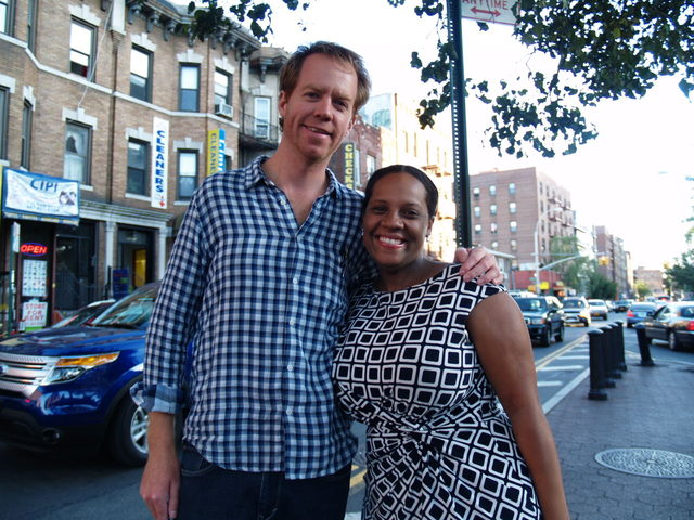 Festival organizer Seth Taylor poses with Councilwoman Julissa Ferreras at the Viva La Comida! festival.