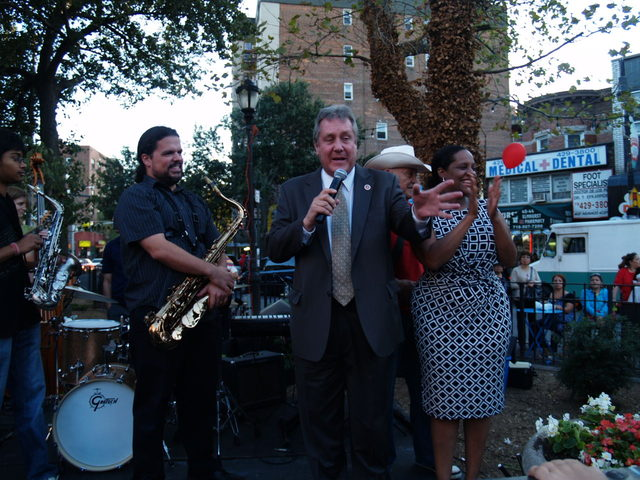 Councilman Daniel Dromm is joined by Councilwoman Julissa Ferreras to adress the crowd at the Viva La Comida! festival.