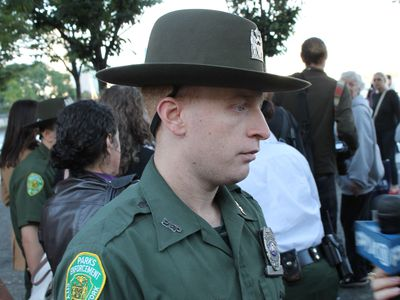 <p>Park Officer Daniel Murphy helped tend to a rape victim at Hudson River Park Saturday, Sept. 22, 2012.</p>