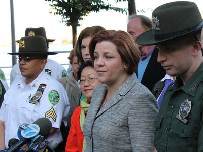 <p>City Council Speaker Christine Quinn with Park Officer Daniel Murphy, who helped tend to a rape victim at Hudson River Park Saturday Sept. 22, 2012.</p>