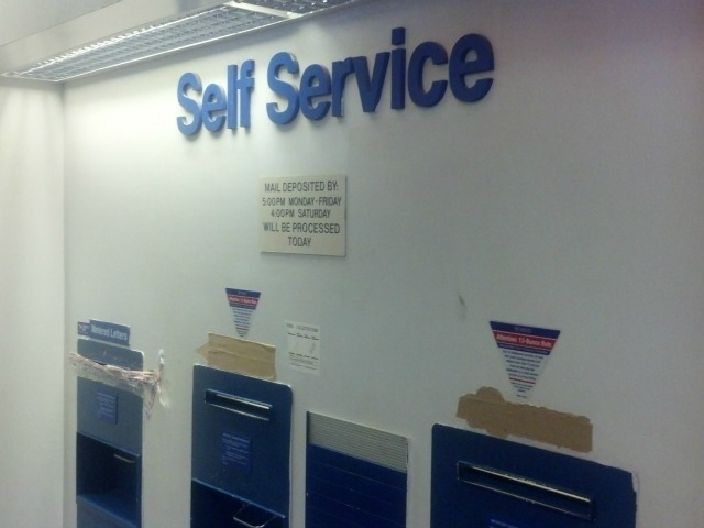 Mail chutes at the Morris Heights Post Office, where a woman got her hand stuck Sept. 24, 2012.