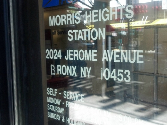 The Morris Heights Post Office, where a woman got her hand stuck in a mail chute Sept. 24, 2012.