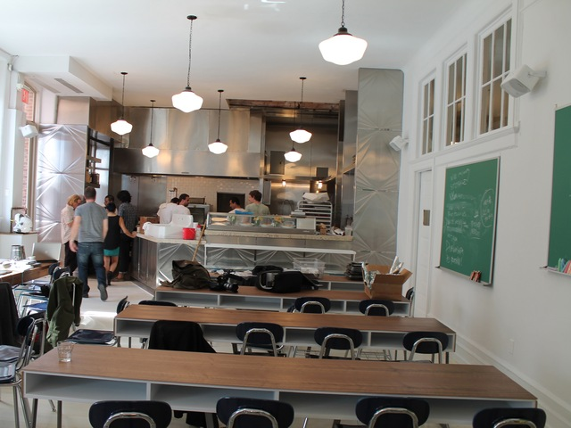 M. Wells Dinette will have a modest décor, resembling a classroom with green chalk boards and student tables, referring to the past of the building which had been a school.