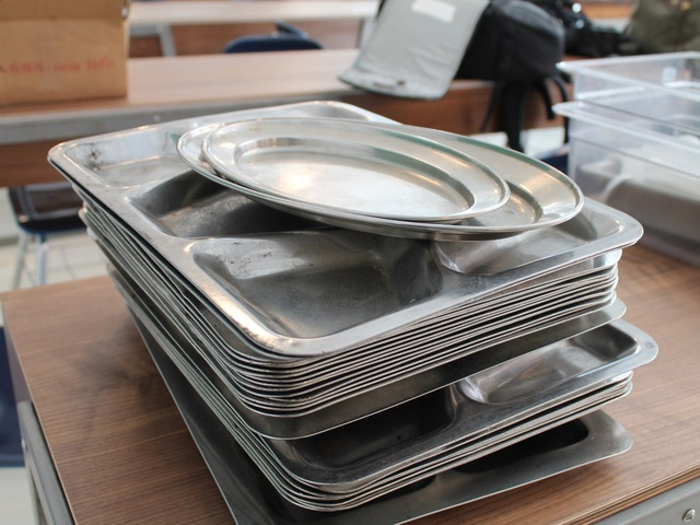 Meals will be served on a military-style trays.
