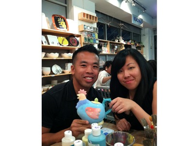 While they went to Mudspot on their first date, pottery painting was their second date.