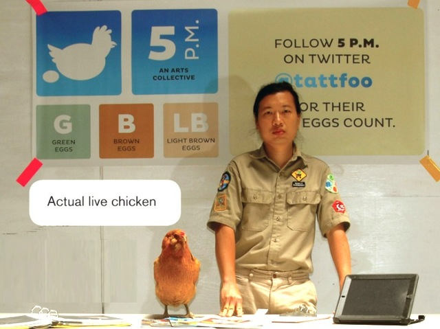 Artist Tattfoo Tan and a chicken are scheduled to lead a workshop on urban chicken-raising at Parsons The New School for Design Sept. 27, 2012.