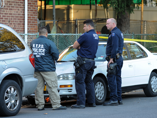 Police at the scene of a fatal shooting in Brooklyn on Tuesday September 25th, 2012.