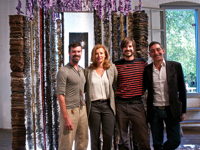 First Lady of France Madame Valerie Trierweiler with artists Steven Ladd, William Ladd, and the center's director Lucien Zayan.