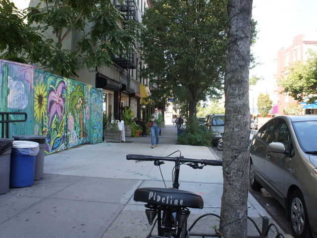 <p>Little Zelda on Franklin Avenue in Crown Heights could soon swap a street-side parking spot for a DOT &quot;bike-corral&quot; meant to ease two-wheeled parking congestion on the bustling block.</p>