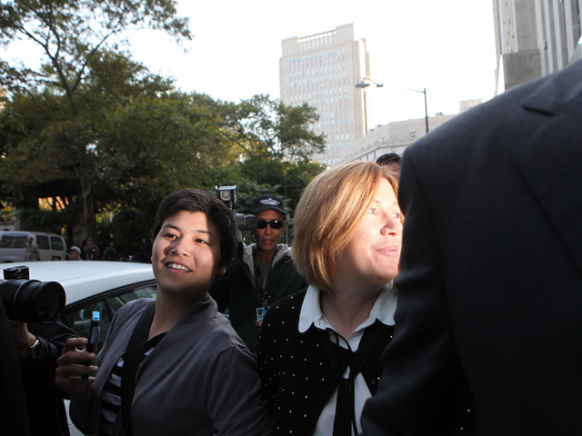 <p>Anna Gristina, right, and her daughter from her first marriage, Suzie Pak, leaving court after pleading guilty to a single count of promoting prostitution on Sept. 25, 2012.</p>
