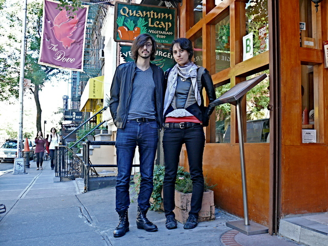 David M. and Jen T. in black leather top layers and denim in the West Village