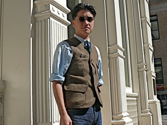 Joe A. in Double R.L. Lovat tweed vest, a Chambray shirt, Maccallum Tartan tie in SoHo.