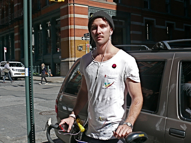 Economist and painter Mike Ross in DIY t- Shirt and black wool hat in SoHo