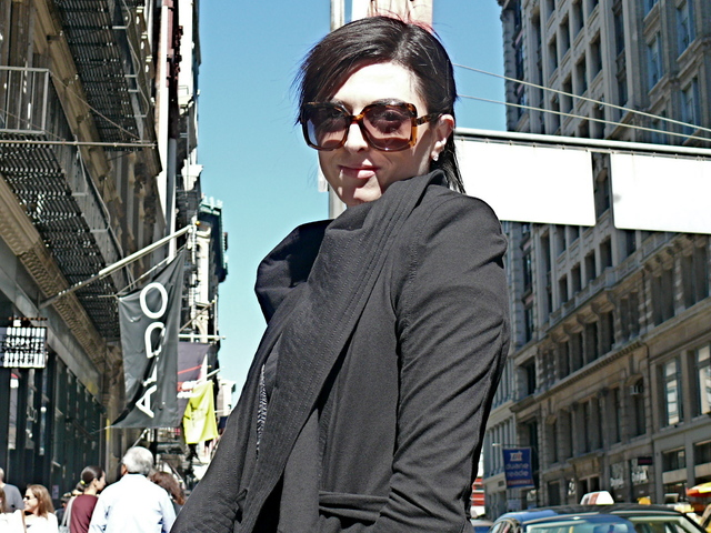 Mellissa M. in cascading tapunto collar jacket on Broadway