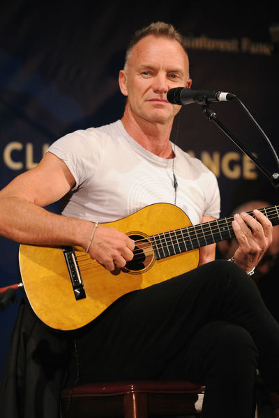 Sting, playing acoustic, at the Cinema for Peace dinner at the Harvard Club, Tuesday, September 25, 2012.