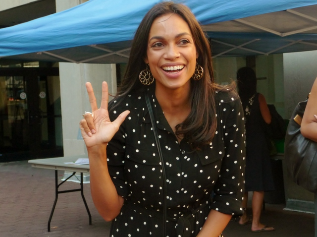 Actress Rosario Dawson made a visit to the Bronx on Tuesday as part of a campaign to get more New York City youth registered to vote.